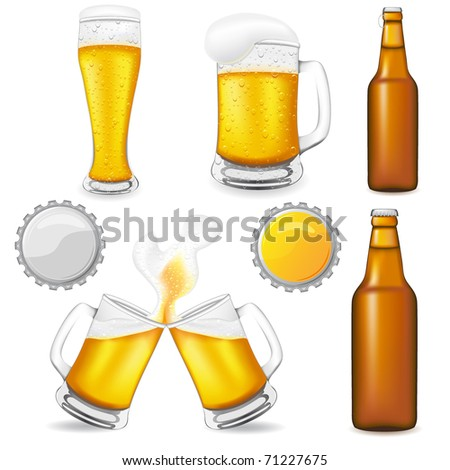 set of beer vector illustration isolated on white background - stock vector