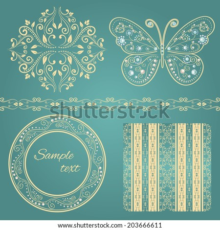set of beige floral border, frame, pattern. with glamour vintage butterfly with elegance ornament encrusted jewels. isolated on blue background. with sample text. vector illustration  - stock vector