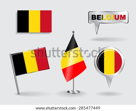Set of Belgian pin, icon and map pointer flags. Vector illustration. - stock vector