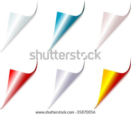 Set of bent different colors page corners
