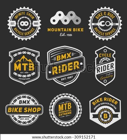 Set of bicycle badge logo template design for logo, label, T-shirt, stamp, sticker, banner and other design. Vector illustration - stock vector