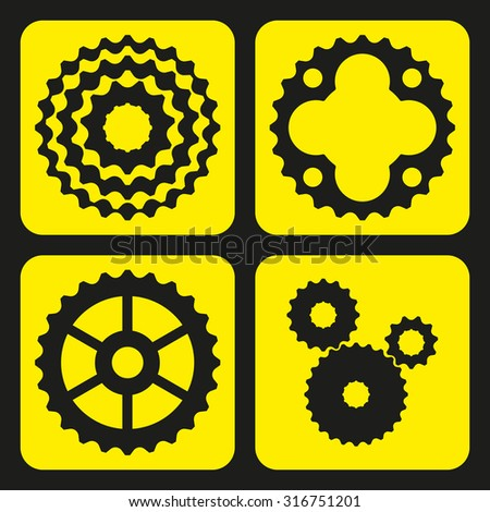 Set of bicycle cogwheels (or gear wheels). Vector illustration. - stock vector