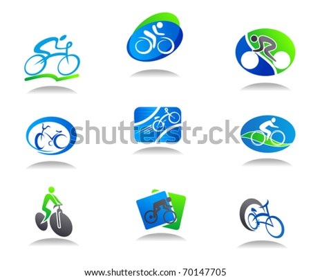Set of bicycle sport icons for design - also as emblem or template. Jpeg version also available in gallery - stock vector