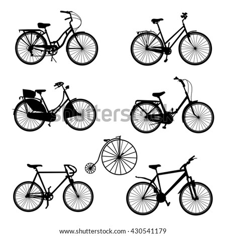 Set of bicycle vector silhouettes. - stock vector