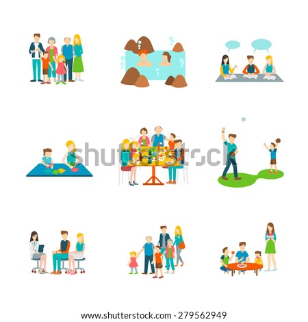 set 9 of big family ,on-sen,learning,origami maker,big family dinner,baseball,meet doctor,eating dough nut vector illustration isolate on white background. - stock vector