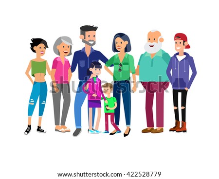 Set of big happy family character, Mom and Dad, grandparents, parents and children, brother and sister, son and daughter. Portrait of a big happy family. Vector family character - stock vector