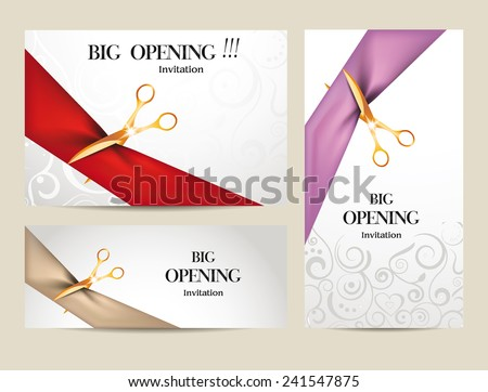 Set of big opening invitation cards with  ribbons and scissors - stock vector