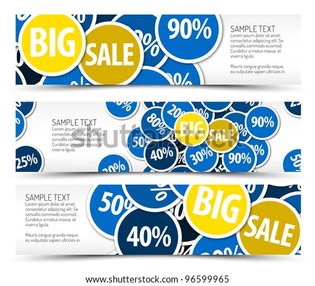 Set of big sale horizontal banners - with place for your text - stock vector