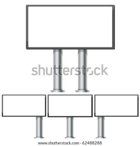 Set of billboards for advertising markets 6 x 3 on steel columns, part 2, vector illustration - stock vector