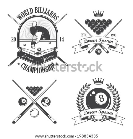 Set of billiards emblems labels and designed elements - stock vector