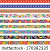 Set of Bingata banners. Bingata: traditional design of Okinawa. Okinawa is one of Japanese prefecture. - stock vector