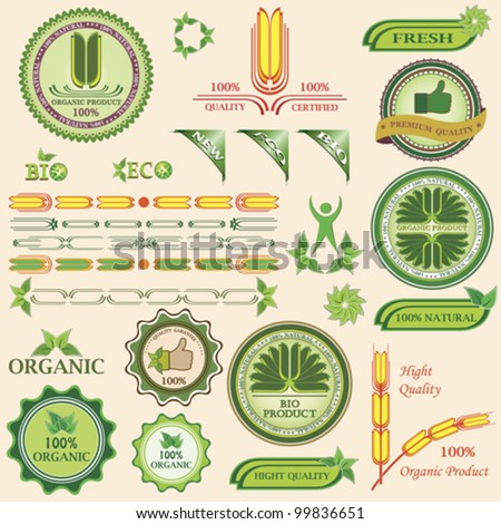 Set of bio and organic badges and labels of quality. Vector illustration - stock vector