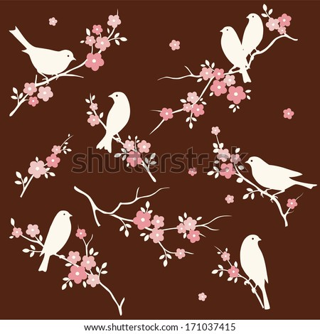 Set of birds and twigs - stock vector