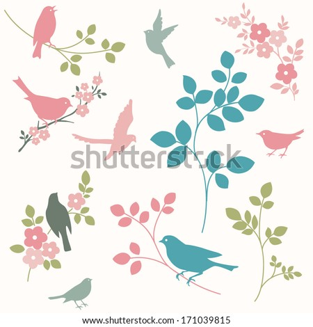Set of birds and twigs. Decorative tree branches and bird silhouettes - stock vector