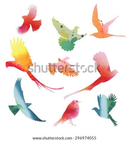 Set of  birds in flight. Watercolor silhouettes. Vector illustration. - stock vector