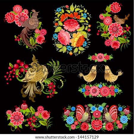 Set of birds on the flowers in the Russian style - stock vector