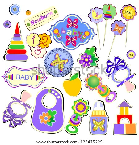 Set of Birthday Accessories and Toys for Babies, Vector Version - stock vector