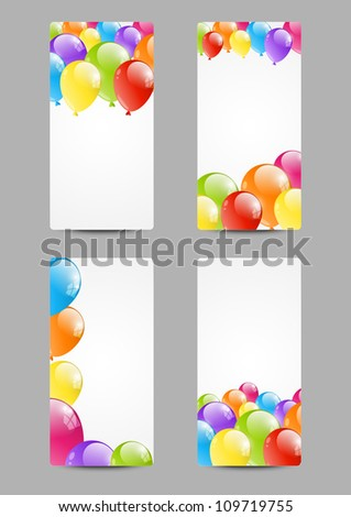 Set of birthday banners with balloon - stock vector