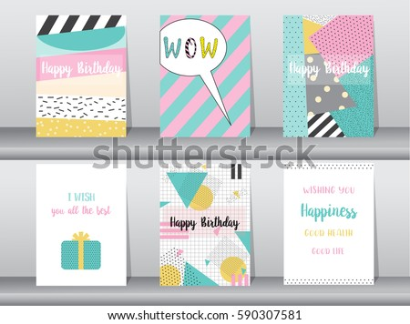 Set Birthday Card On Retro Pattern Vector 590307581 – Set of Birthday Cards