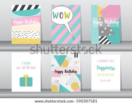 Set Birthday Card On Retro Pattern Vector 590307581 – Set of Birthday Cards