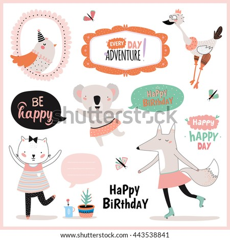 Set of birthday cards, gift tags, label templates and stickers with funny and cute animals. Vector. Isolated. White Background - stock vector