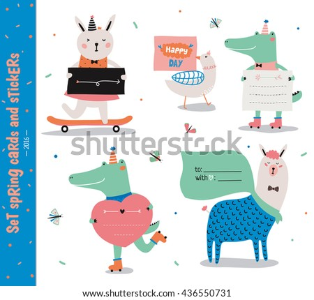 Set of birthday cards, gift tags, labels templates and stickers with funny kids animals. Vector. Isolated. White Background - stock vector