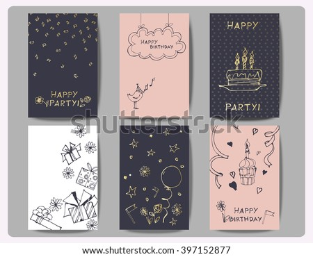 Set Birthday Cards Hand Drawn Birthday Stock Vector 397152877