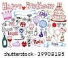 Set of Birthday doodles. Vector illustration. - stock vector