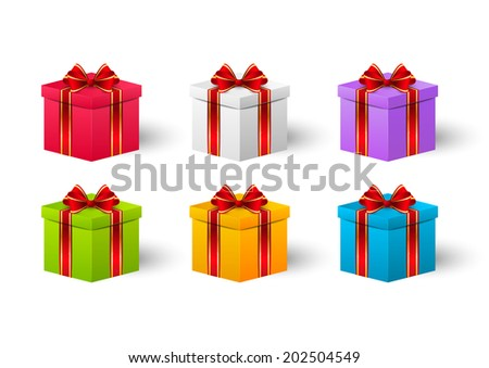 Set of Birthday gift boxes - stock vector