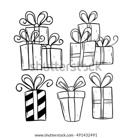 Set birthday gift using doodle art stock vector 491432491 shutterstock set of birthday gift using doodle art or hand drawing style negle Images