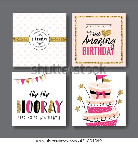 Set Birthday Greeting Cards Design Vector 432744625 – Set of Birthday Cards