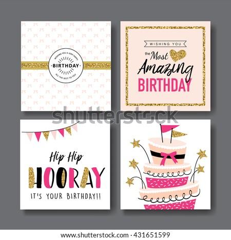 Set Birthday Greeting Cards Design Vector 432744625 – Set of Birthday Cards