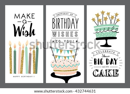 Set of birthday greeting cards design
