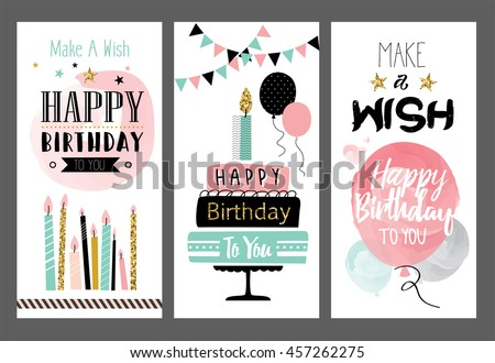 Set of birthday greeting cards design - stock vector
