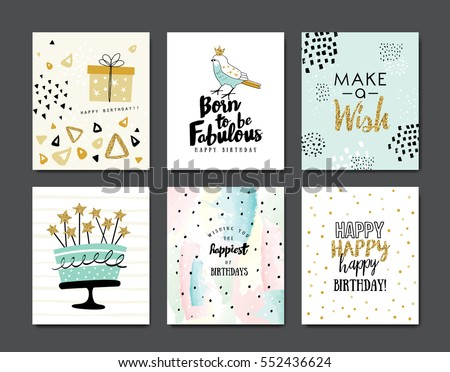 Set Birthday Greeting Cards Design Vector 552436624 – Photos of Birthday Greeting Cards