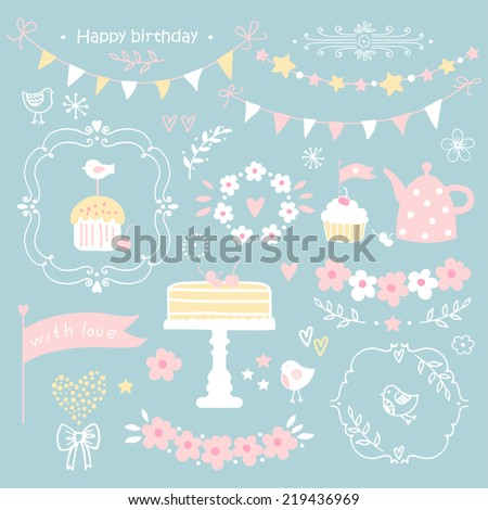 Set of birthday party elements.Vector illustration. - stock vector