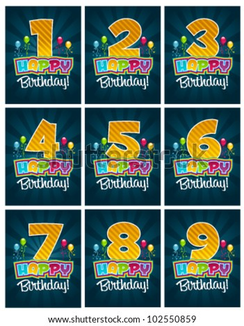 Set of birthday party invitation cards with numbers - stock vector
