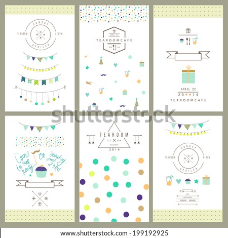 Set of birthday party invitations. Vector. Isolated. - stock vector