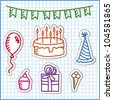 set of birthday stickers - stock vector