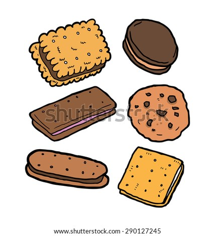 set of biscuit doodles - stock vector