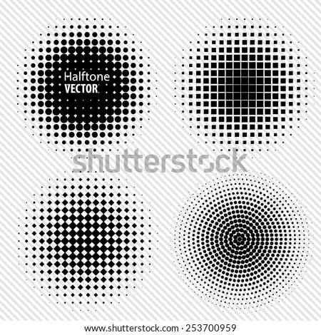 Set of Black Abstract Halftone Circles Logo, vector illustration - stock vector