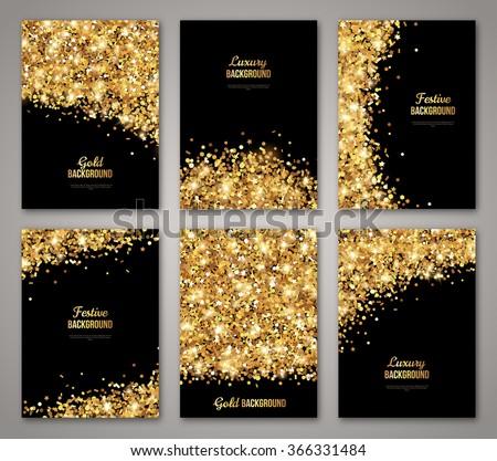 set black gold banners greeting card ベクター画像素材 366331484