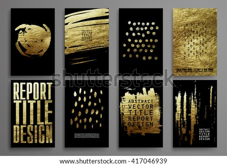 Set of Black and Gold Design Templates for Brochures, Flyers, Mobile Technologies, Applications, and Online Services, Typographic Emblems, Logo, Banners. Abstract Modern Backgrounds.  - stock vector