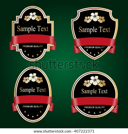 Set of black and gold ornate labels with red tape. Grouped for easy editing. Perfect for labels or stickers for wine, beer, champagne, cognac, cologne and etc. - stock vector