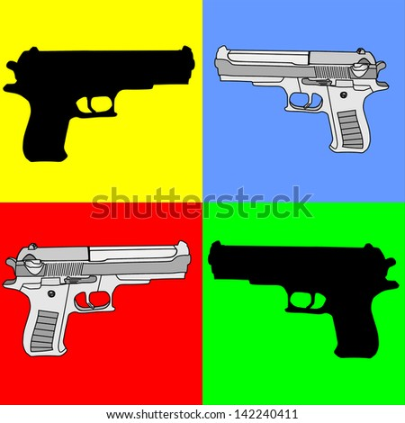 set of black and gray pistol revolver silhouette isolated on yellow, blue, red, green background vector collection - stock vector