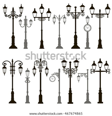 Set of 14 black and gray vector icons vintage streetlights