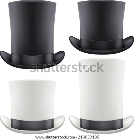 Set of black and white big gentleman hat cylinder with ribbon. Vector Illustration Isolated on white background. - stock vector