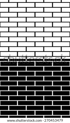 Set of black and white brick wall, brickwork patterns, textures. Easy to edit, Seamlessly repeatable, backgrounds for construction, building, architecture themes. - stock vector