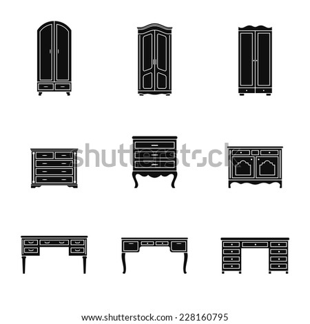 Set of black and white cabinet, wardrobe and writing table icons isolated. Drawer, closet, dresser pictogram - stock vector