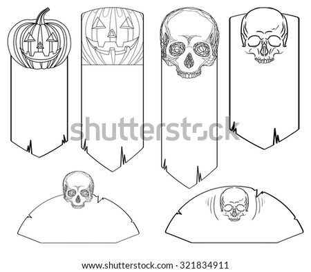 Set of black and white doodle banners with skulls and jack-o-lanterns for your design - stock vector